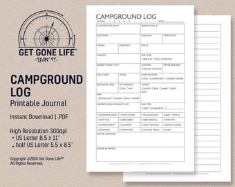 printable campground journal camping log camping journal travel journal get gone life rv motorhome