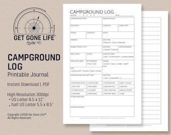 printable campground journal camping log camping journal travel journal get gone life rv motorhome