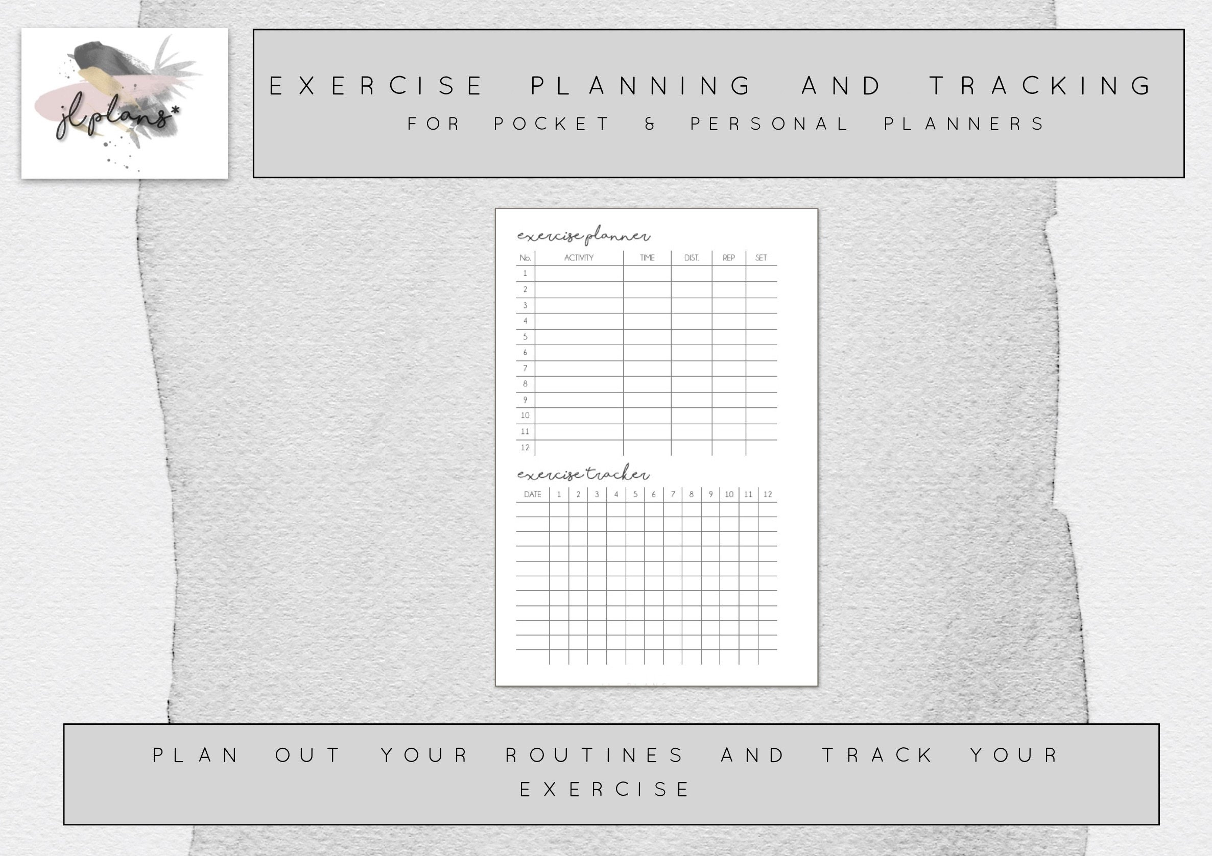 exercise planning and tracking printable for pocket planners etsy