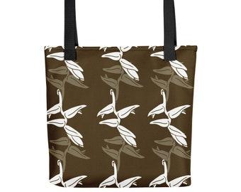 Tote Bag Tropical Espresso & White Design Shopping Library Book Bag