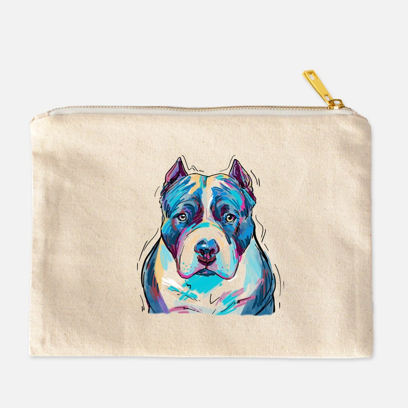 850ee4759212 Pitbull Cosmetic Bag Cute Dog, Dog Mom, Dog Lover, Makeup Case,  Personalized Makeup Bag, Natural Canvas Bag Lined,