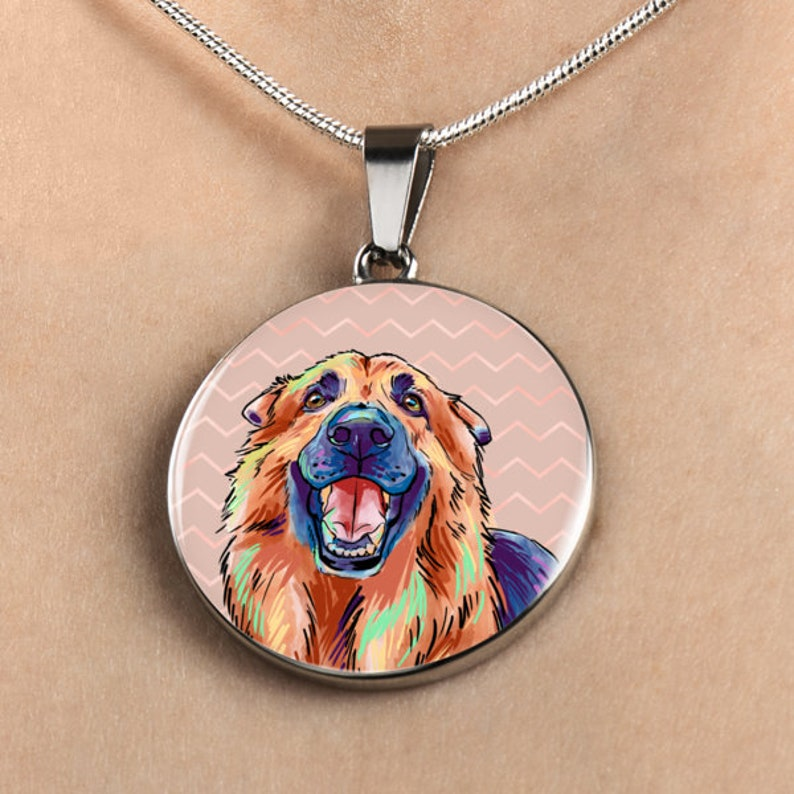 Necklace German Shepherd Stainless Steel or 18k Gold Finish Engraved Circle Charm Unique Gift for Dog Lover In Memory of Pet Loss Jewelry