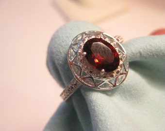 Filigree Garnet Ring Size 8