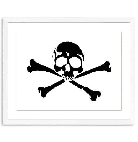 Skull And Crossbones Skull Artwork Skull Print Skull Decor Etsy