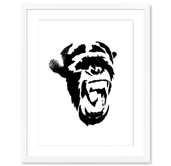 picture about Printable Stencils for Spray Painting known as Graffiti Artwork Spray Paint Artwork Stencil Artwork Highway Artwork Animal Prints Chimp Artwork Graffiti Wall Artwork Humorous Artwork Impressive Residence Decor Lower Print