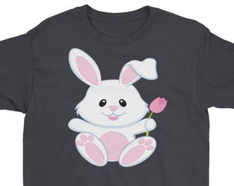 Happy Small White Easter Bunny Youth Short Sleeve T-Shirt