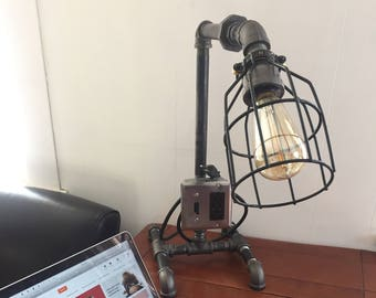 Industrial Pipe Light Lamp By Exclusive Pipe Light - USB Charging Station - Swinging Arm - Rustic Decor - Bedside - Edison Bulb