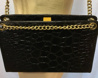 be76c0a1b02d Black Faux-Crocodile Purse