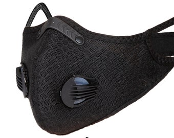 Superior Black Sports Pollution Respirator Mask Half Face Anti-Dust With Filter Carbon Activated for Dust, Pollen, Etc