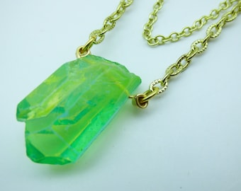 Green Crystal Cluster Necklace