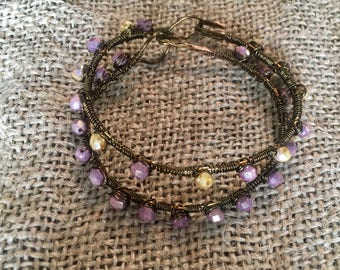 Copper-wire Beaded Bracelets (Fits 6 inch wrist) / Purple & Yellow Bracelets / Copper Jewelry (*custom colors and sizes available)