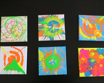 Spinn Art * Psychodelic Blues * 6 unique spin art pictures
