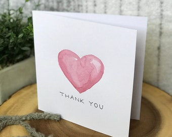 Handmade watercolor heart thank you card