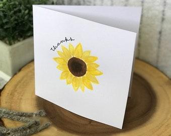 Handmade watercolor sunflower thank you card
