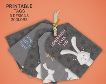 Easter printable gift tags - Easter favor tags - Easter bunny gift tags Instant Download - Some-Bunny Tags - DIY Bunny favor tags
