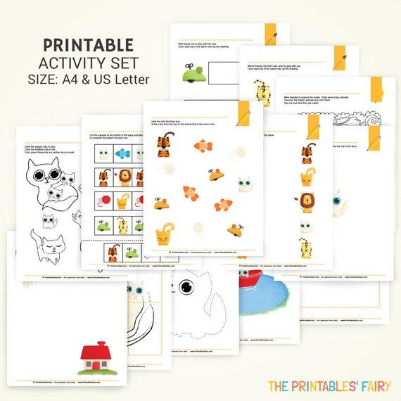 Kids Printable Worksheets Cat Activities For Kids Children Activity Book Printable Cat Activity Set For Preschoolers