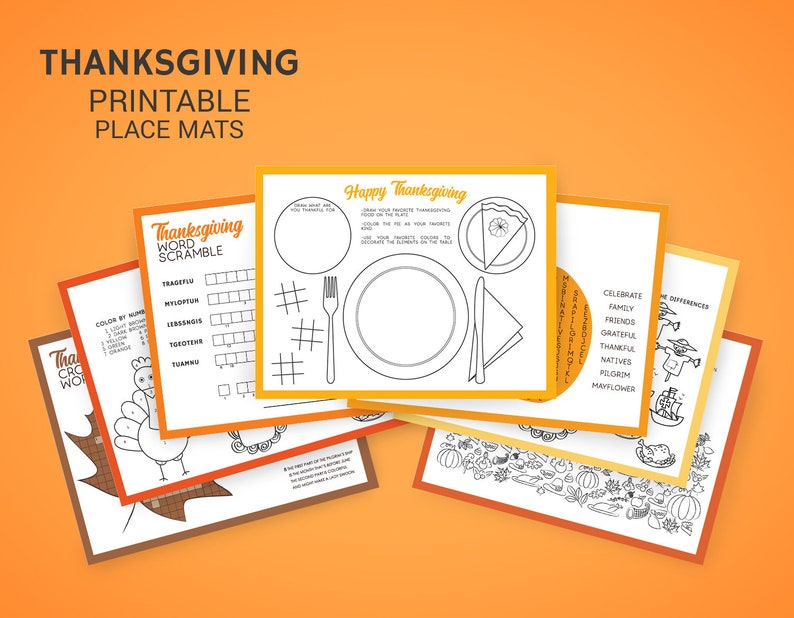 Thanksgiving Activities for kids - Thanksgiving printable place mats -  Crossword, Word Search, Word Scramble, I Spy Party Games Printables