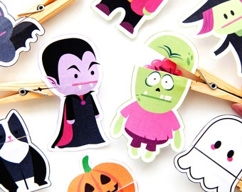 Halloween Clothespin Puppets Printable Templates