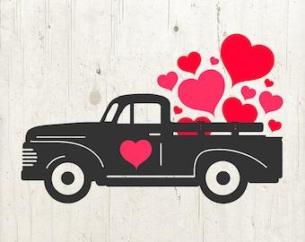 Valentine Truck Svg Etsy