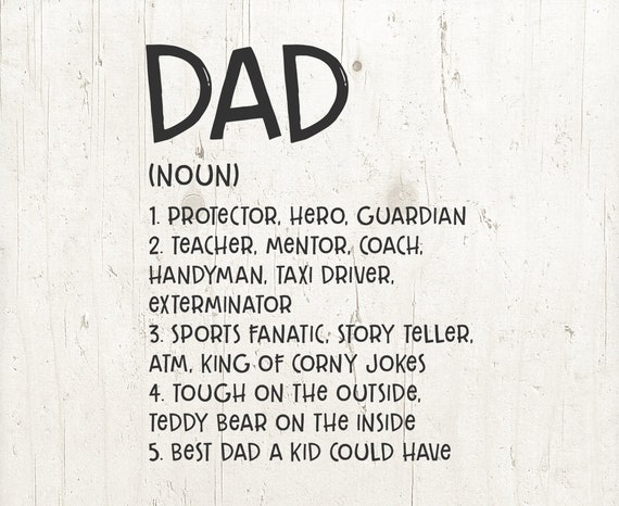 Definition Of Dad Father S Day Svg Dad Svg Superhero Etsy
