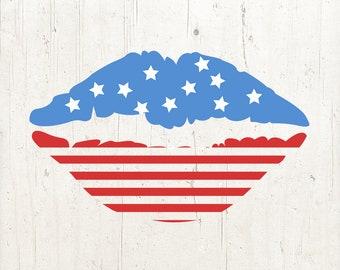 Flag Lips Svg, American Flag Lip SVG, Fourth of July SVG, 4th of July Svg, Patriotic Lips Svg, Svg Files, Cricut Files