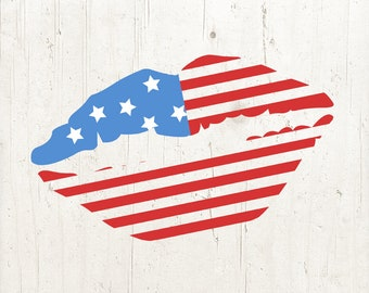 Fourth of July SVG, Flag Lips Svg, American Flag svg, Lips SVG, 4th of July Svg, Patriotic Lips Svg, Svg Files, Cricut Files