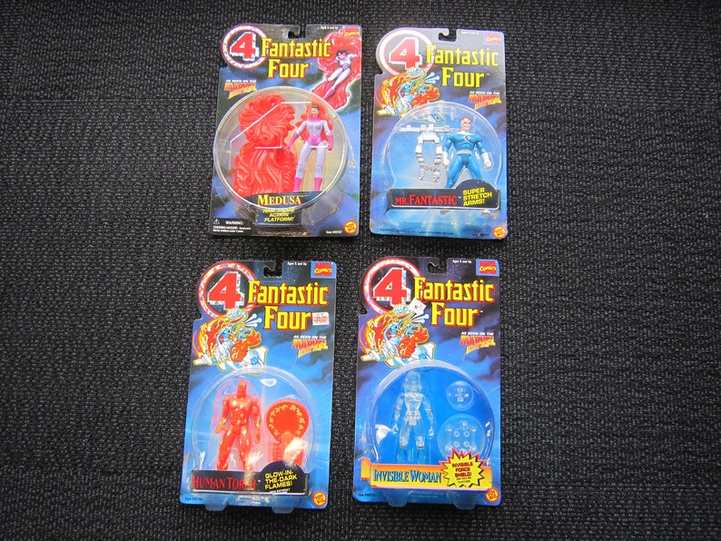 Fantastic Four Human Torch Mr Fantastic and Invisible Woman Toy Biz MOC