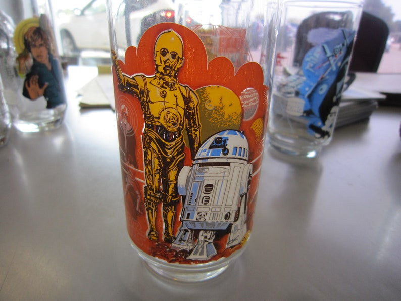 Vintage 1977 Star Wars R2-D2 C3P Burger King Glass Coca Cola