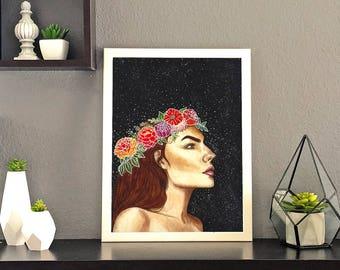 Flowers and Night Sky Print