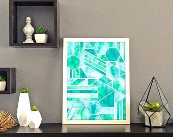 Geometric Ocean Tones  Watercolor Print