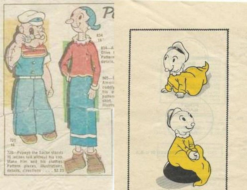 Vintage 3 lots of Popeye Family Toy Sewing patterns | Etsy