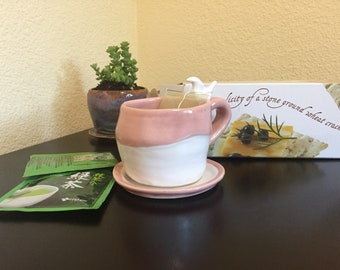Pink and White Tea Cup And Saucer Ready to Ship
