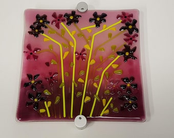 Fused Glass Wall/stand display Art  - Burgundy, Pinks & Greens -  including stand off mounting fixings