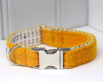 Harris Tweed Orange Buckle Dog Collar With Cotton Lining