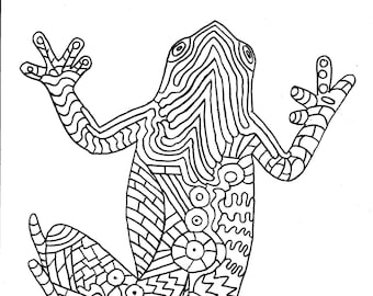 Frog Coloring Page Digital Download File Adult Line Drawing Frogs And Toads Art Collectables Cute Pen Ink