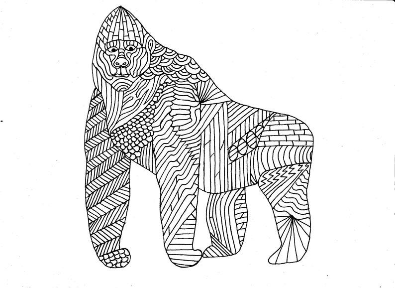 Kleurplaten Dieren Afrika.Gorilla Kleurplaat Pagina Digitaal Bestand Volwassen Etsy