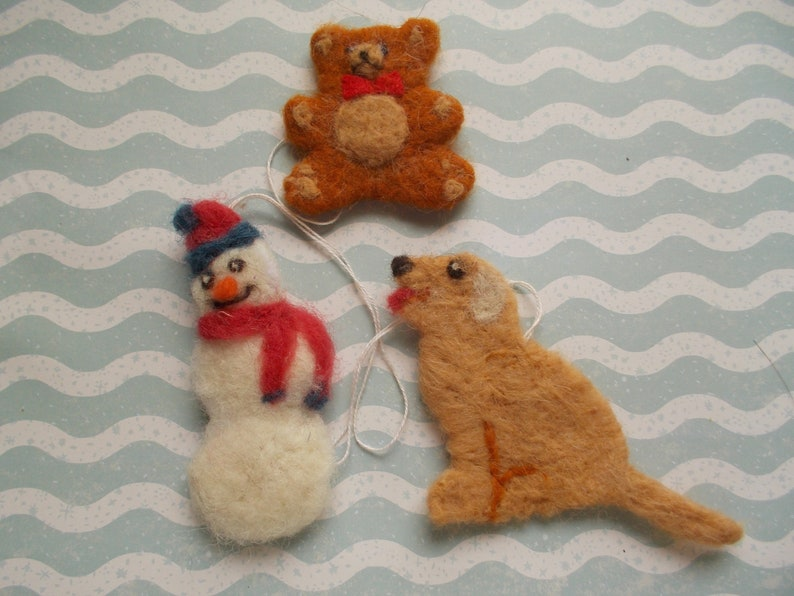 Christmas Ornaments Needle Felted Christmas Decor Set Of Three Tree Ornaments Snowman Puppy Teddy Bear Ornamnets