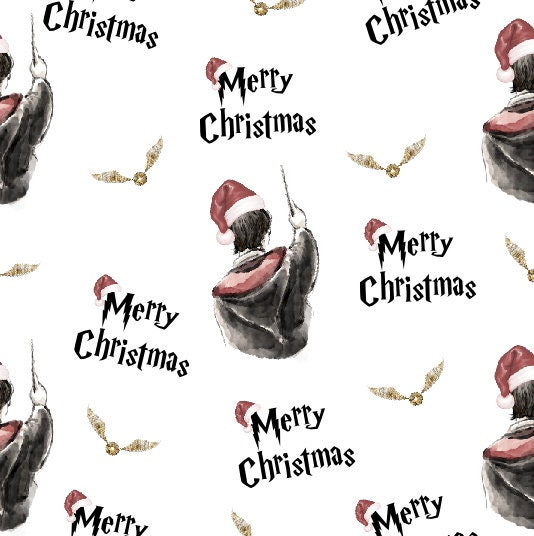 Tissu de potter, harry potter, de tissu de Noël, tissu sous licence, estampes de Noël, magie tissu, tissu coton, tissu par l'yard, tricot d54fca