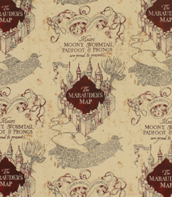 Marauders map fabric knit fabric fabric by the yard Harry   Etsy