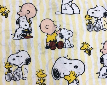 SNOOPY STRIPE Fabric by the Yard, Fat Quarter Snoopy Fabric Peanuts Fabric Charlie Brown Fabric Quilting Fabric 100% Cotton Fabric