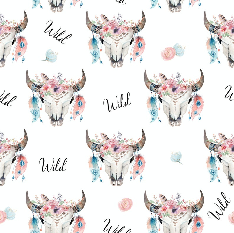 a617313458f Skull fabric cotton fabric knit floral fabric boho fabric | Etsy