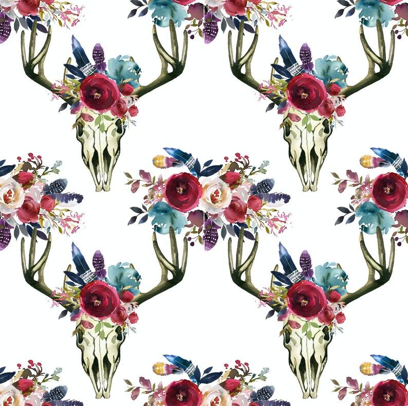 12e3f9ba376 Skull fabric cotton fabric knit fabric floral fabric boho | Etsy