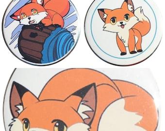 Chibi Fox Pinback Button 2.25in Anime Manga Kawaii Cute Kitsune