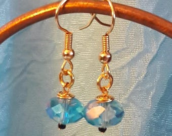Blue Glass Faceted Earrings