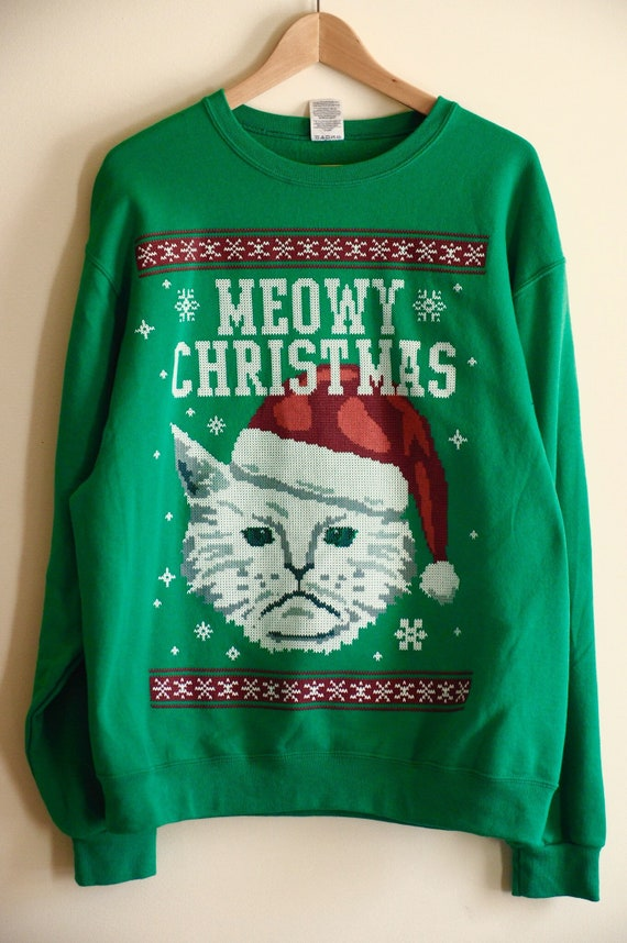 Grumpy Cat Ugly Christmas Sweater.Grumpy Cat Ugly Christmas Sweater Pullover Green Grinch Meowy Men Women Size Medium Large Gift Knitted Stitched Vintage Street Design