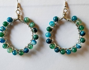 Chrysocolla Quartz and Malachite Hooped Earrings, Blues and Greens