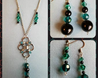 Necklace and 2 pair Earring Set - Beaded