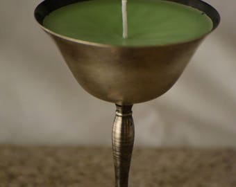 Green Pine Scented Candle in a Metal Goblet