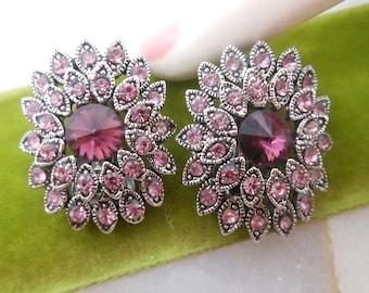 Vintage Pink Tulip Plastic Rhinestone Flower Earrings Clip On Jewelry Gift Mid Century VivianJoel.com