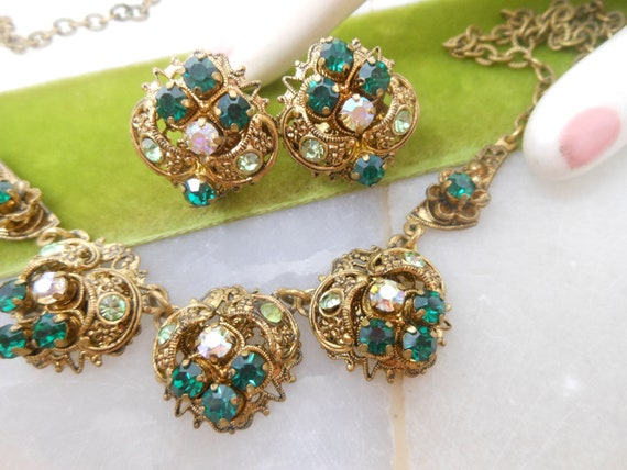 Champagne Gold Pearl and Emerald Green Renaissance Costume Earrings with Antiqued Brass